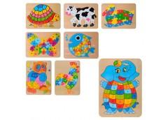 деревянная игрушка Пазлы животные, буквы, в кул. 30х23х0,5см.  MD 2020  (150)