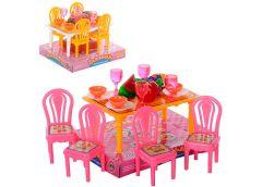 столовая стол, 4 стула, посуда, фрукты в слюде 13х11х9см.  967  (180)