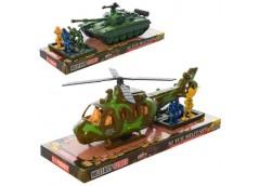 набор военный 4 солдатика, танк 21см./вертолет 25см., в слюде 29х11х10,5см.  866...