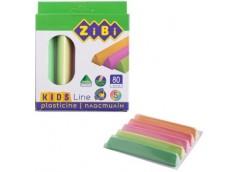 пластилин Zibi Kids Line треугольн. мягкий восковый с доб. каучука неон  5цв./80...