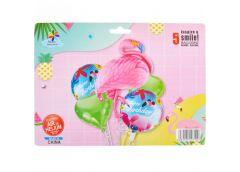 набор шариков фольгированных 5шт. Фламинго (2 сердца 44см.+ 2 кругл. 44см. +фигу...