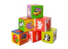 кубики мягкие для купания, погремушка, 6шт. 7х7см. в кул. 14х21х7см.  5930  (72)...
