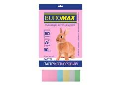бум. офис. цв. Buromax  А4/80гр./50л. Pastel MIX набор 5цв.  ВМ.2721250-99  (60)...