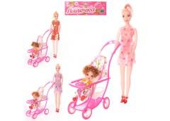 кукла 2шт. (27см. и 10см.) с коляской в кул. 18х32х5см.  339-1/2214  (144)