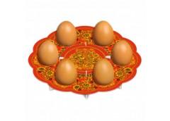декоративная подставка для яиц Хохлома № 6 тарелка на 6 яиц  (100)