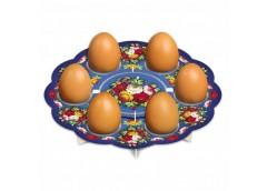 декоративная подставка для яиц Жостово № 6 тарелка на 6 яиц  (100)